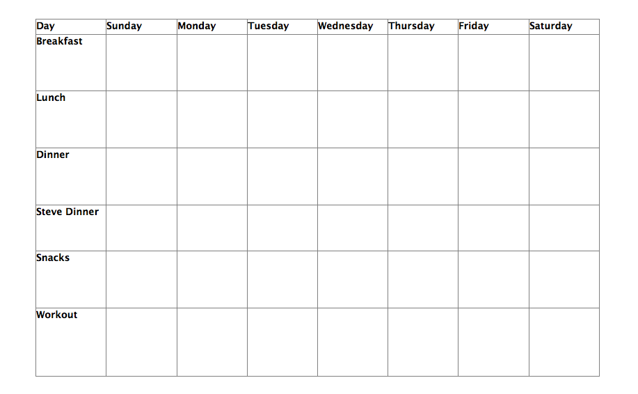 weekly exercise planner
